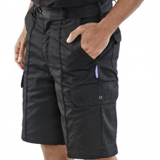 Black Cargo Work Shorts Sewn in Crease with Six Pockets Black)