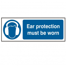 Ear Protection must be worn 30 x 10cm Safety Sign Rigid PVC
