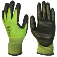 Klass Tsunooga Fibre Traffic Light Green 15 gauge Lightweight PU Coated Cut 5 Safety Gloves