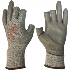 Klass Tek 1001 Semi Fingerless Tsunooga Fibre with PU Palm Cut 4 Safety Gloves 4443