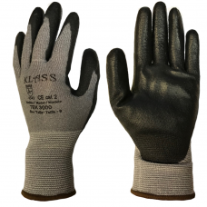 Klass Tek 3000 Cut Level 3 Black PU Palm Coating on HPPE Grey Liner Safety Gloves 4343