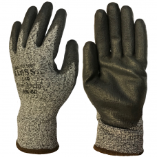 Klass Tek Cut Level 5 Black PU Palm Coating on HPPE Grey Liner Safety Gloves 4543