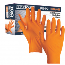 Extra Tough Diamond Grip Orange Nitrile Engineers One Use Gloves 100 hands