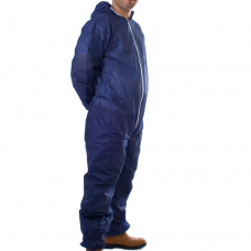 Disposable Hooded Coverall Polyprop. Blue