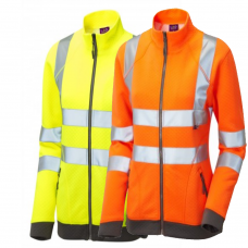 Leo Workwear Hollicombe Ladies Zipped Sweatshirt Hi-Viz ISO 20471 Class 2