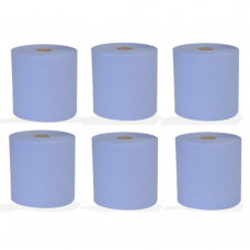 Blue 2 Ply Centre-Feed Flat Sheet Paper Roll 150m x 190mm 6 Rolls