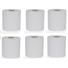 White 2 Ply Centre-Feed Flat Sheet Paper Roll 150m x 190mm 6 Rolls