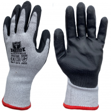 Cut Level D / 5 Black PU Palm Coating on HPPE Grey Liner Safety Gloves