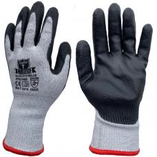 Cut Level D / 5 Black PU Palm Coating on HPPE Grey Liner Safety Gloves