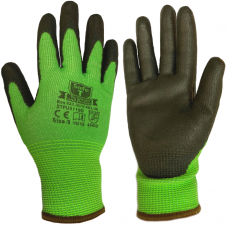 Cut Level D / 5 SafeT Traffic Light Green PU Coated Safety Gloves