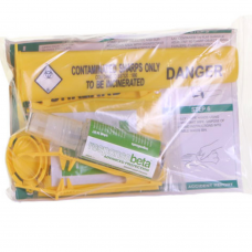 Single Use Sharps Disposal Kit in Grip Seal bag