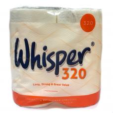 Whisper 2Ply White Toilet Rolls 320 sheets per roll x 36 Rolls