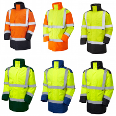 Leo Hi Vis class 3 Quilt Lined Rain Proof Coat 2 Tone