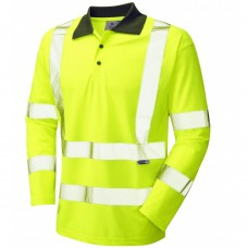Leo COOLVIZ Recycled Polyester Class 3 Long Sleeve Polo Yellow