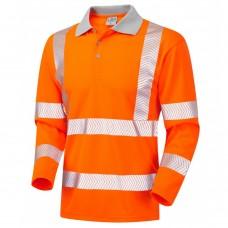 Leo COOLVIZ Plus Long Sleeved Polo Shirt Chevron Stripes Orange Class 3