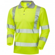 Leo COOLVIZ Plus Long Sleeved Polo Shirt Chevron Stripes Yellow Class 3
