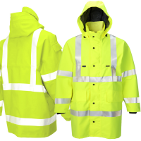 Hi Vis Yellow Gore-Tex Foul Weather Coat & Hood Class 3