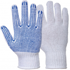 Fortis White Mixed Fibre with PVC Polka Dot Palm Gloves