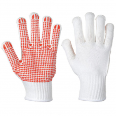 New General Handling Red on White Heavyweight PVC Polka Dot Gloves Portwest