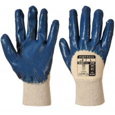 3/4 Nitrile Dipped Cotton Liner Lightweight Knit Wrist Gloves.
