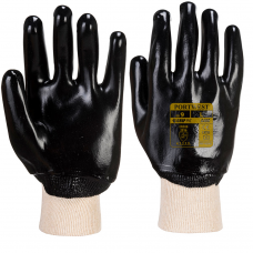 Black PVC Coated Knit Wrist Lightweight Liner Work Gloves.