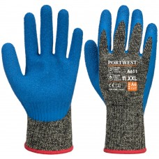 Blue Latex Palm on Aramid and Steel Cut Level D Safety Gloves up to size 12 -3XL