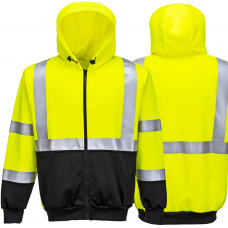 High Vis Yellow/Black 2 Tone Portwest Full Zip Hoodie