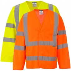 High Visibility Class 3 Long Sleeve Vest Yellow Velcro