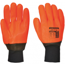 Cold Weather Hi Vis Orange PVC Coated Insulated Gloves