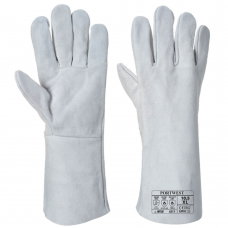 "Portwest 14"" Grey Leather Welders Gloves Type A Contact Heat Resistant 100 Degrees"