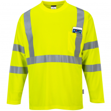 100% Polyester Moisture Wicking Class 3 Long Sleeve Pocket High Vis T Shirt