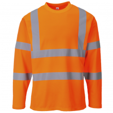 55% Cotton Long Sleeve T Shirt in Hi viz Yellow or Railspec Orange