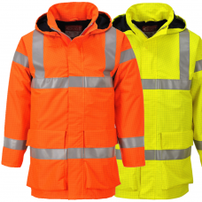 Class 3 ARC (25.2 Cal/cm²) Hi Vis Fire Retardant A/Static Railspec Waterproof Coat