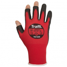 Traffi Metric Red Semi Fingerless Cut Level A Safety Glove