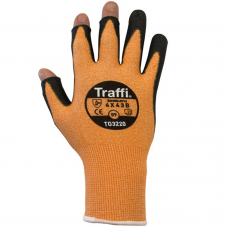 Traffi Orange Semi Fingerless Cut Index B PU Coated Glove