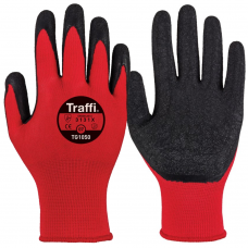 Traffi X Dura Latex Palm on Red Tear Resistant Nylon Gloves