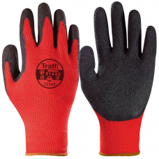 Traffi X Dura Latex Palm on Red Polycotton Gloves