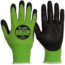 Traffi TG6010 Cut Level F PU Palm Coated Safety Gloves