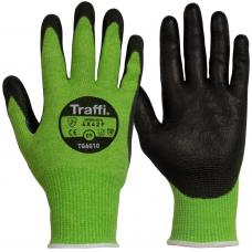 Traffi TG6010 Cut Level F PU Palm Coated Safety Gloves