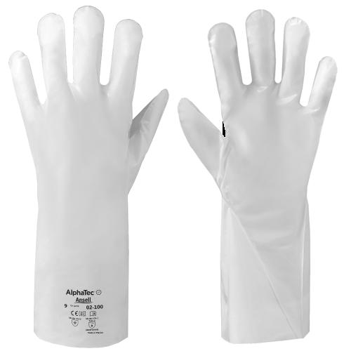 Ansell AlphaTec 02-100 Guanto laminato 5 strati resistente alle sostanze chimiche 12 Paia Bianco Taglia 6
