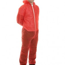 Disposable Hooded Coverall Polyprop. Red
