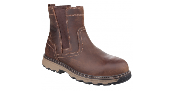 Caterpillar CAT Pelton Brown Steel Toe Cap Safety S1P SRC Chelsea Dealer Boots