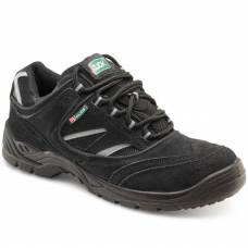 Black Suede Leather Upper Safety Trainer Shoe