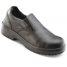 Ladies Black Leather Upper Slip On Safety Shoe PU Slip Resistant Sole