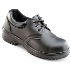 Ladies Black Leather Lace Up Safety Shoe PU Slip Resistant Sole