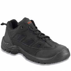 Black Leather & Mesh with Scuff Caps Safety Trainer
