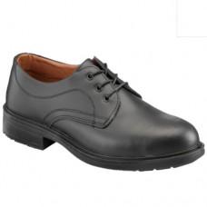 Plain Style Black Leather Executive Full Safety Shoe