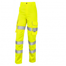Leo Class 2 Ladies Poly/Cotton Cargo Work Trouser Yellow 3 Leg Lengths