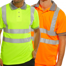 Hi Viz Summer Polo Yellow or Railspec Orange Short Sleeve Class 2 Click