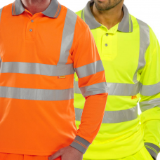 Hi Viz Polo Shirt Long Sleeve Yellow Class 3 or Railspec Orange Click B Seen